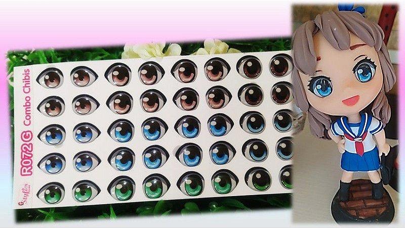 Olhos Resinados R072 Combo Anime e Chibi - Stylier