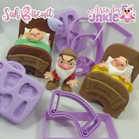 Molde de Silicone +cortadores Kit Anões - Sah Biscuit