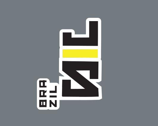 Adesivo BrazilJS Vertical Preto e Amarelo