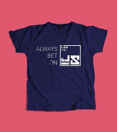 Camiseta Always bet on BrazilJS azul marinho logo branco quadrado