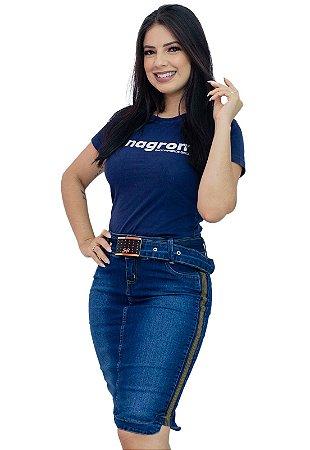 Saia Jeans Moda Evangélica com Cinto Anagrom Ref.179