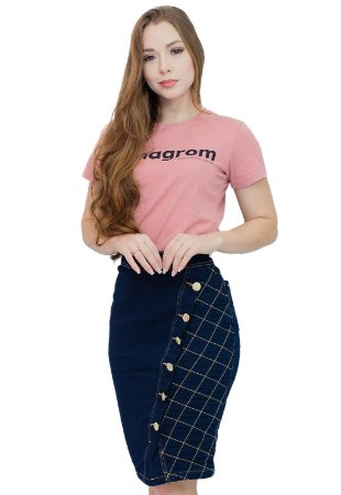 Saia Jeans Evangélica Transpassada Costuras Anagrom Ref.180