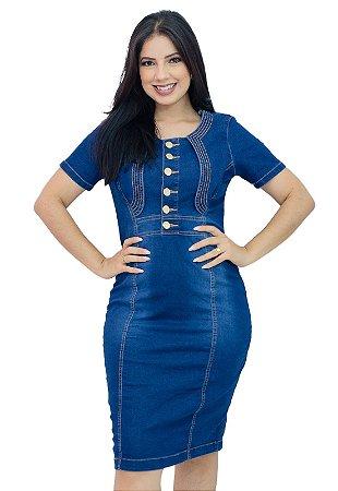Vestido Jeans Moda Evangélica Botão e Zíper Anagrom Ref.5016