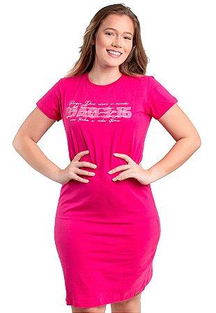 Vestido T-Shirt Malha Moda Evangélica Pink Anagrom Ref.V019