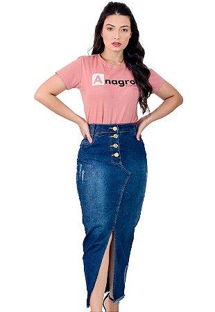 Saia Jeans Longa Fechamento Botão Evangélica Anagrom Ref.196