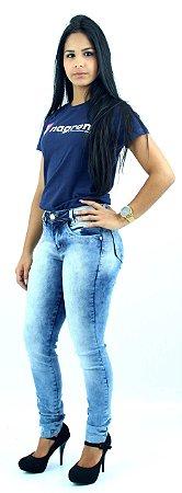 Calça Jeans Feminina Cintura Média Azul Claro Mesclado Ref.1006