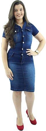 Vestido Jeans Evangélico Azul Destroyer de Botões Ref.5002