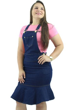Jardineira Saia Jeans Evangélica Azul com Babado Ref.4001