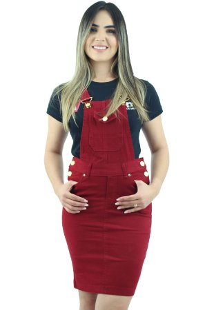 Jardineira Feminina Brim Vermelha Ref.4006
