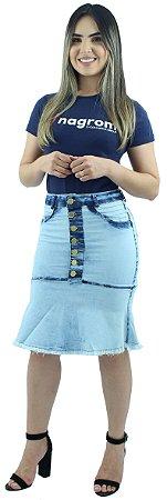 Saia Jeans Babado Botões na Frente Ref.024