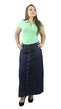 Saia Longa Jeans Aberta Botões na Frente Ref.034