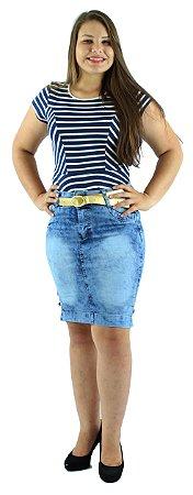 Saia Jeans Azul Mesclado Corrente Lateral Ref.065