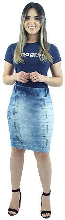 Saia Jeans Evangélica Passantes Verticais Azul Claro Ref.089