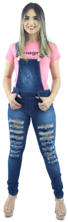 Macacão Calça Jeans Feminino Rasgado Ref.8001