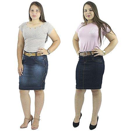 Kit de Saias Secretária Jeans Moda Evangélica + Cinto