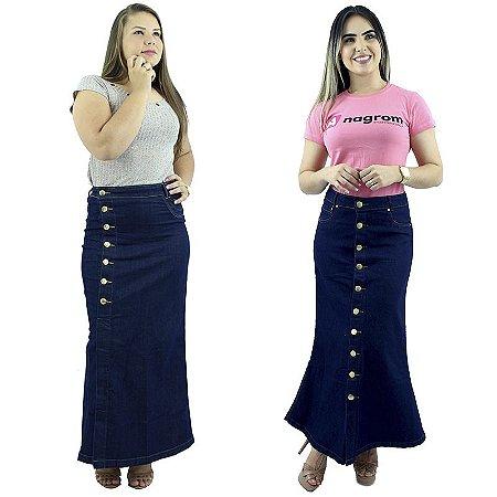 Combo 2 Saias Longas Jeans Detalhe Botão