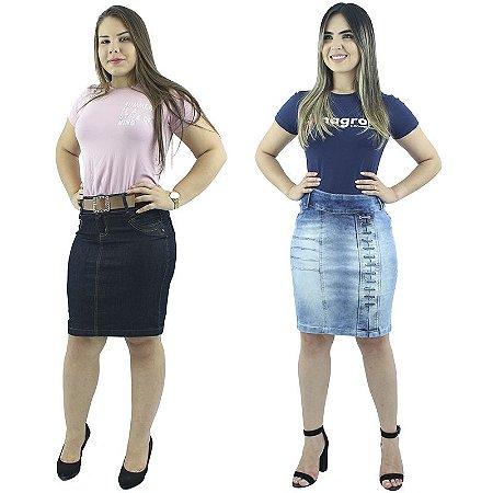 Combo de 2 Saias Médias Jeans Moda Evangélica