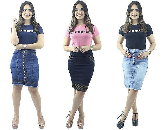 Kit com 3 Saias Jeans Secretária Novos Modelos 2019