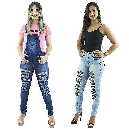 Combo Macacão Jeans + Calça Skinny Jeans Moda Rasgadinha