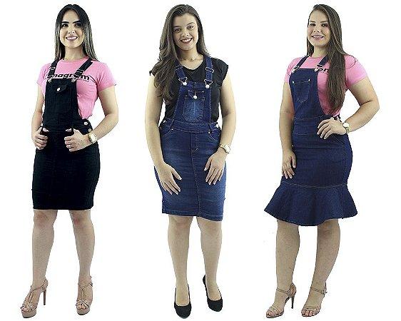 Kit com 3 Jardineiras  Brim e Jeans Moda Evangélica