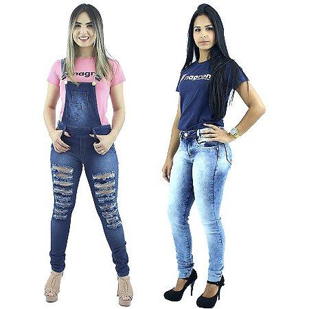 Kit de Macacão Jeans e Calça Jeans Skinny Fuan