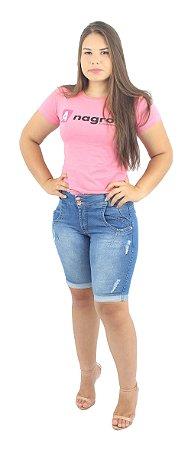 Bermuda Jeans Feminina Barrinha Virada Detonada Ref.3007