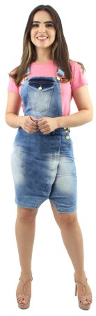 Jardineira Jeans Recorte Transpassado Foan Pistolada Ref. 4014