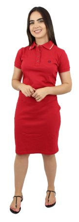 Vestido Gola Polo Malha Vermelho Ref.9001