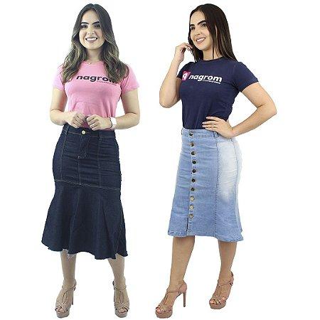 Combo com 2 Saias Longuetes Jeans Moda Evangélica