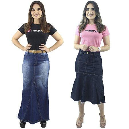 Kit com Saia Longa Destroyed + Saia Longuete Jeans Escuro