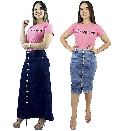 Kit 2 Saias Jeans com Lycra Modelos Longo de Botão na Frente e Secretária Azul Mesclado