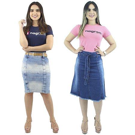 Saia Secretária Tiras Foan + Saia Evasê Jeans Destroyed