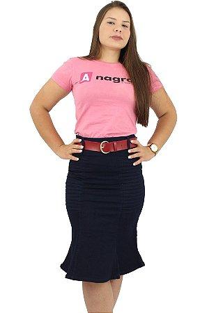 Saia Longuete Jeans Escuro com Pregas Ref 150