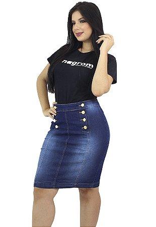 Saia Média Jeans Azul Escuro Botões Frontais Anagrom Ref.153