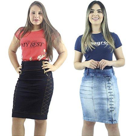 Kit com 2 Saias Secretária Jeans evangélica Anagrom