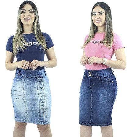 Saias Secretária Jeans Azul Anagrom Kit com 2