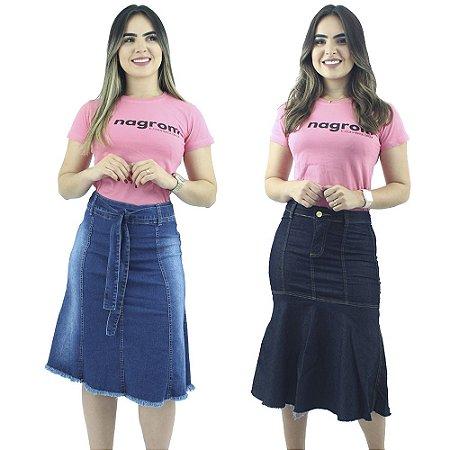 Kit de 2 Saias Jeans Modelos Evasê e Longuete Anagrom