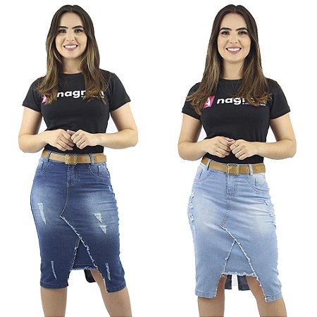 Kit de 2 Saias Jeans Azul Evangélica Modelo Detonado Anagrom