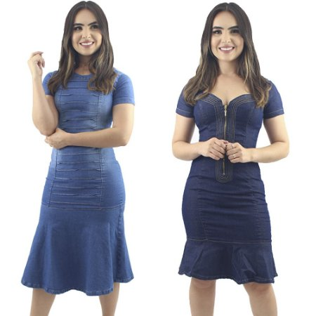 Combo 2 Vestidos Jeans Azul Moda Evangélica Anagrom