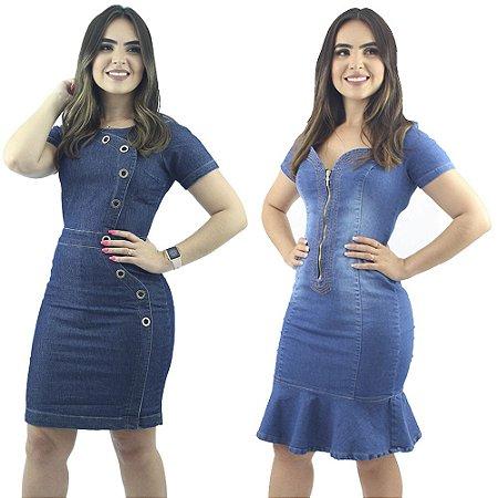 Vestidos Jeans Anagrom Moda Evangélica Kit com 2