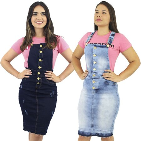 Combo de 2 Jardineiras Salopete Jeans Moda Evangélica