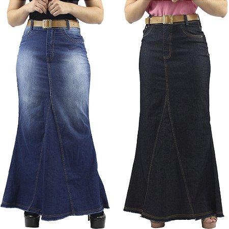 Combo 2 Saias Longas Jeans Moda Cristã Anagrom
