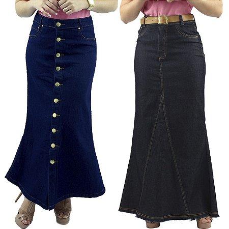 Combo de 2 Saias Longas Jeans Azul e Preta Anagrom