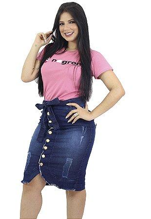 Saia Jeans Evangélica Com Cinto e Botões Anagrom Ref.166