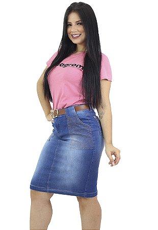 Saia Jeans Evangélica Anagrom Bolso Listrado Ref.165