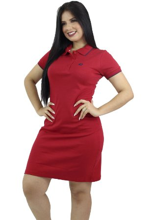 Vestido Gola Polo Malha Vermelha Ref.9001