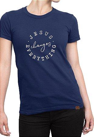 T-shirt Estampa Moda Evangélica Anagrom Azul Ref.C006