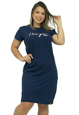 Vestido T-Shirt Algodão Azul com Frases Anagrom Ref.V005