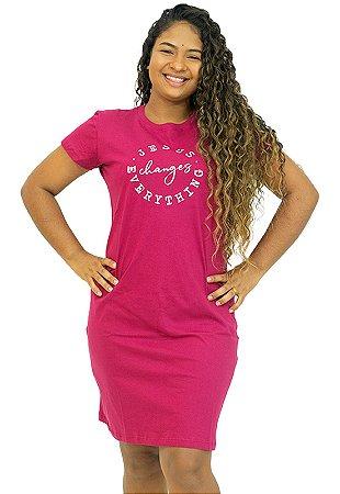 Vestido T-Shirt Rosa Frase Evangélica Anagrom Ref.V010