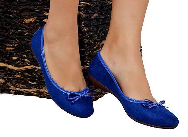 Sapatilha bico redondo camurça azul